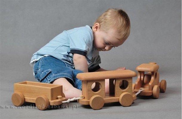 kolejka z drewna dla dzieci zabawka ekologiczna