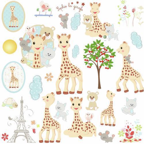 Żyrafa Sophie teraz także jako naklejki na ścianę.