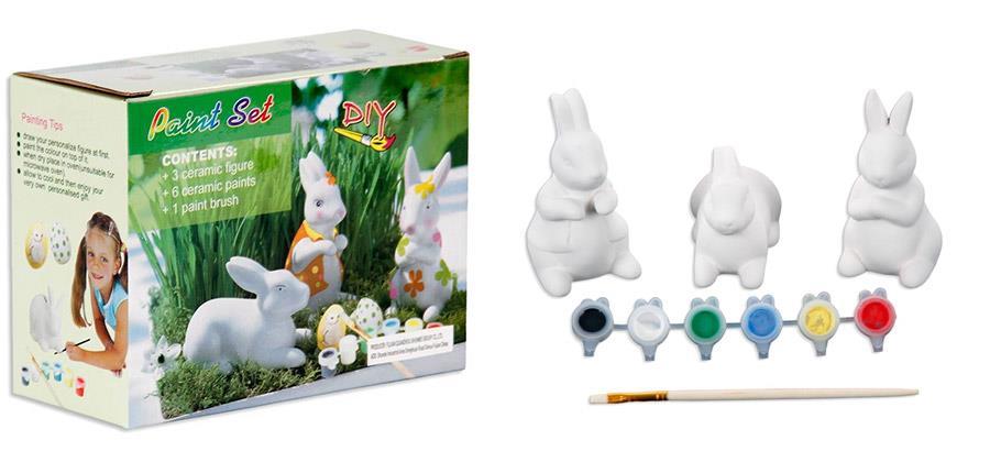DIY, 3 króliki wielkanocne do pomalowania, zestaw kreatywny
