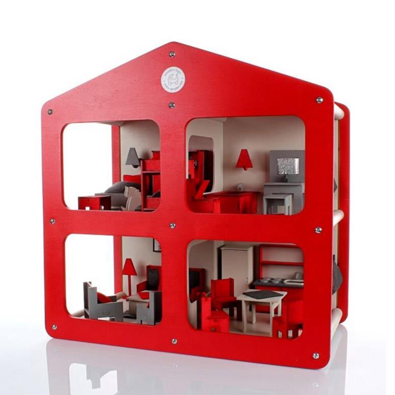 DOMOS- designerski drewniany domek dla lalek z wyposażeniem