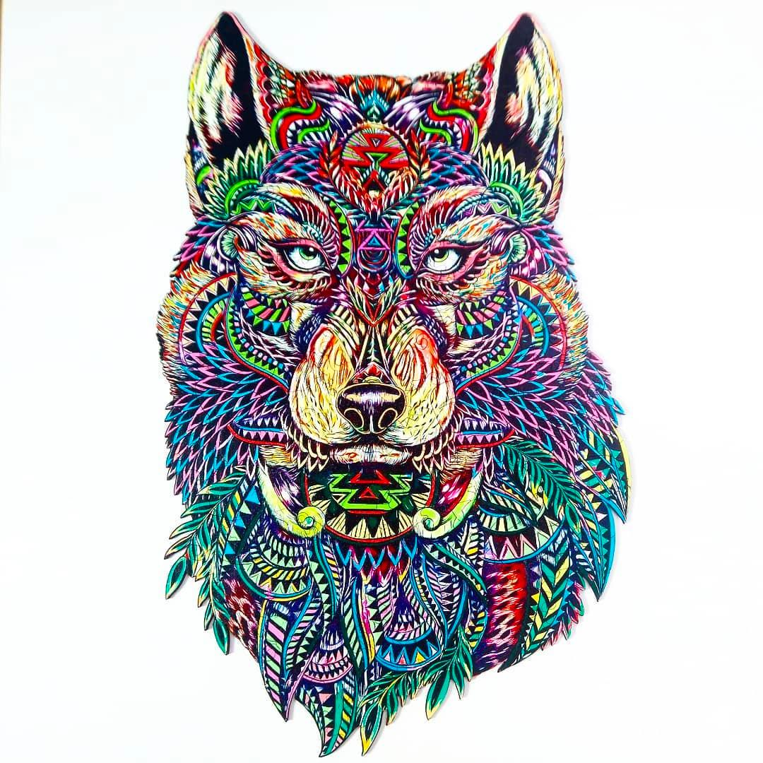 Puzzle drewniane Wilk, Kot, Lew