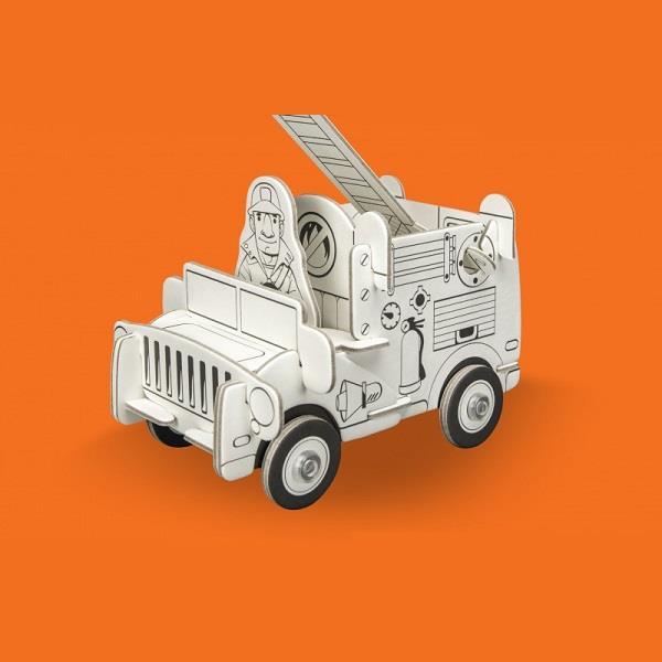 Samochód strażacki, puzzle przestrzenne 3D z papieru