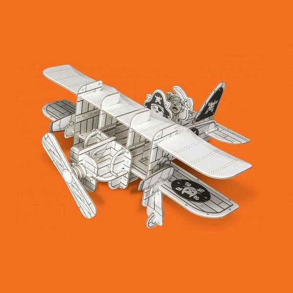 Samolot piracki, puzzle przestrzenne 3D z papieru.