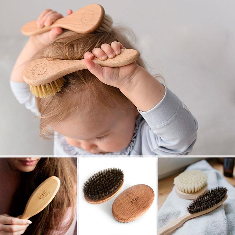Szczotki z naturalnego włosia na drewnianej oprawie